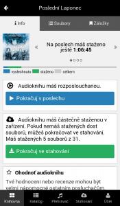 Detail audioknihy v mobilní aplikaci - Přehledné informace o stavu poslechu