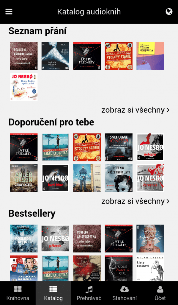 Katalog audioknih v mobilní aplikaci - Osobní doporučení, Seznam přání, Bestsellery
