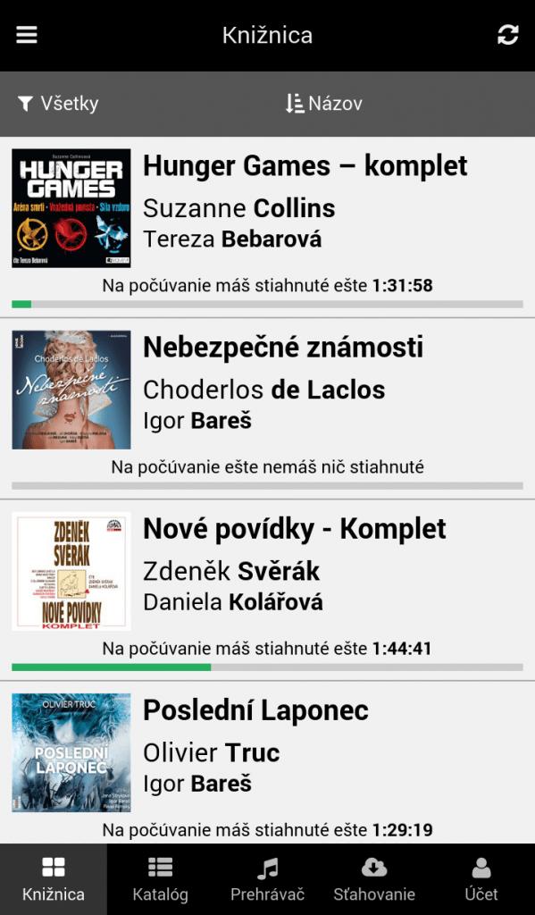 Knižnica audiokníh v mobilnej aplikácii - Filtrovanie a triedenie audiokníh