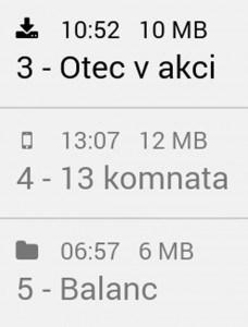 Indikace stažení souboru audioknihy