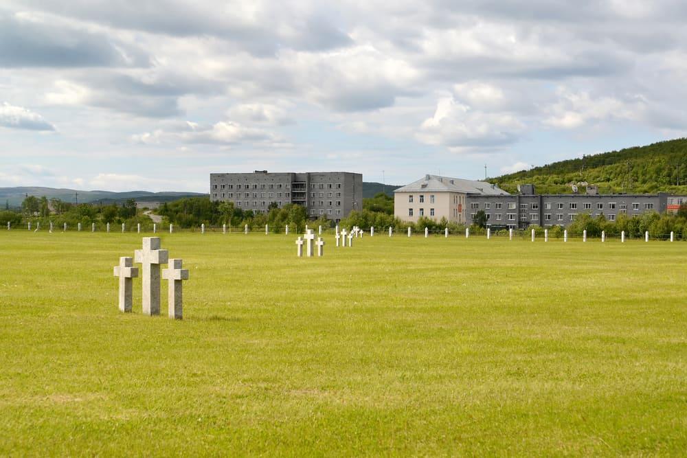 View of a Russian-German memorial cemetery. Settlement of Pechenga, Murmansk region